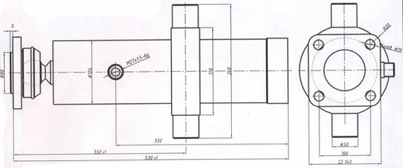 Гидроцилиндр 55102-8603010-10 старого образца (Гидроцилиндр ЦГС.16.Ф.Ф.56.75.95-3400)